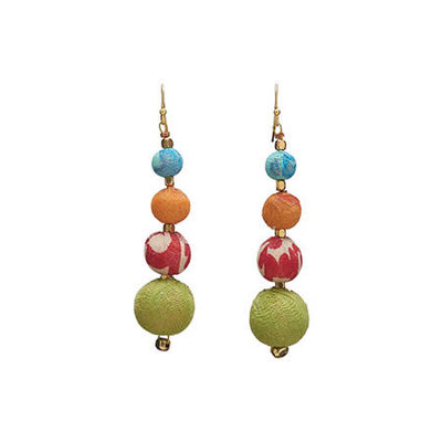 World Finds Graduated Kantha Bead Earrings