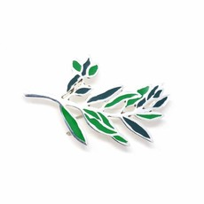 Global Crafts Green Branch Silver Brooch