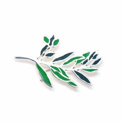 Global Crafts Green Branch Silver Brooch