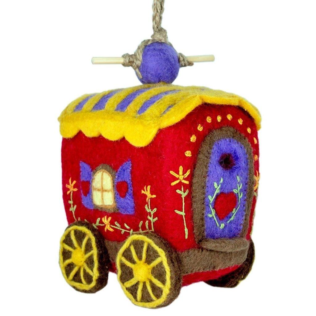 DZI Handmade Gypsy Wagon Wool Felt Birdhouse