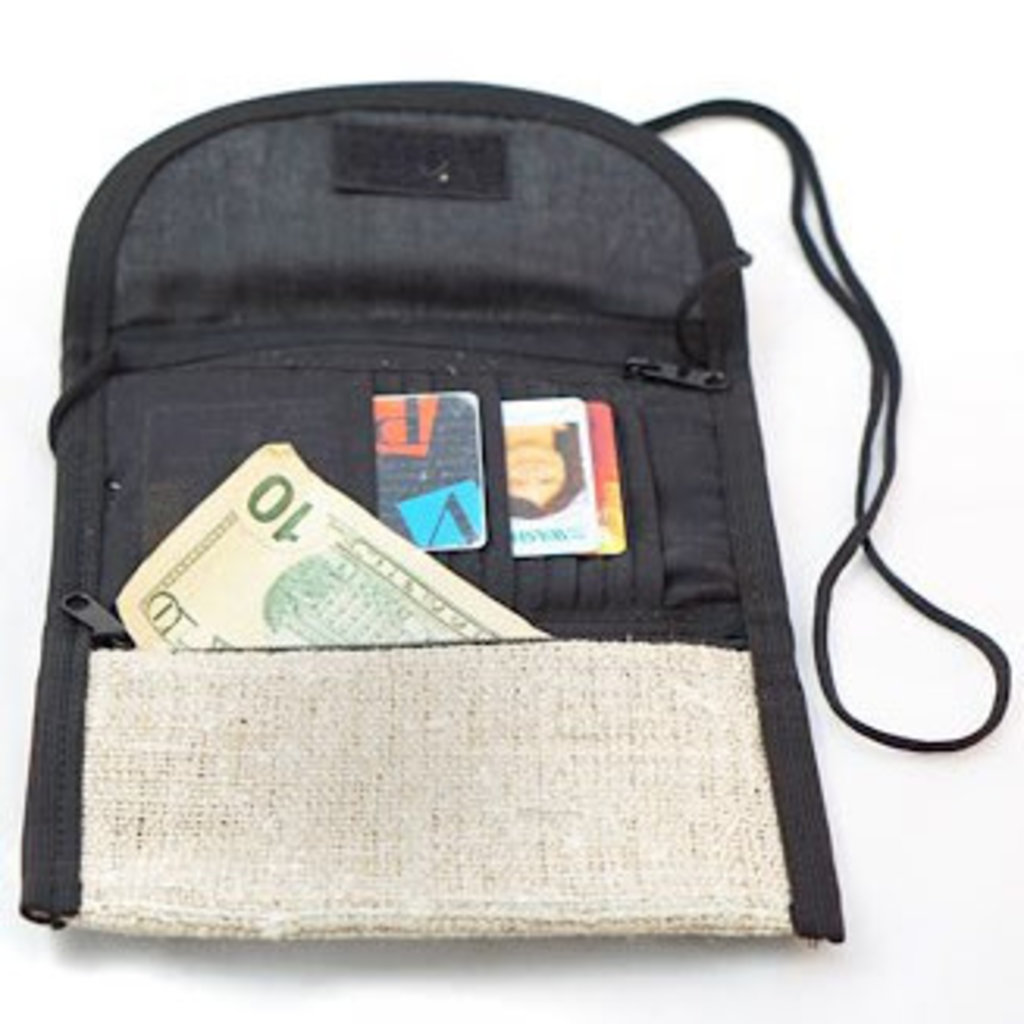 Ganesh Himal Hemp Wearable Trifold Wallet with Strap