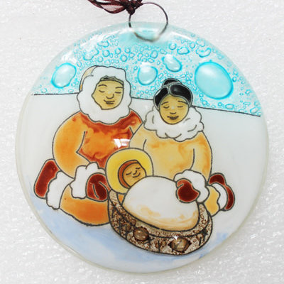 PamPeana Inuit Family Fused Glass Ornament