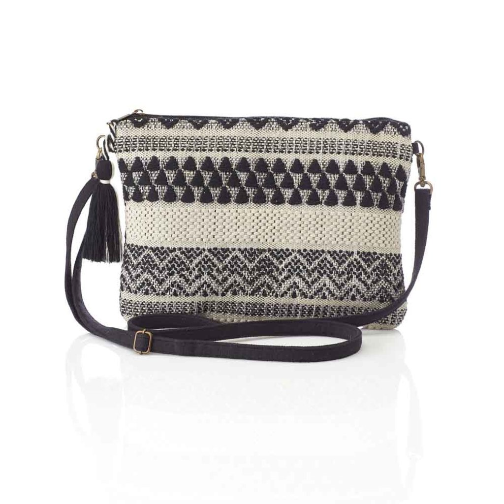 Serrv Jacquard Black & White Crossbody Clutch
