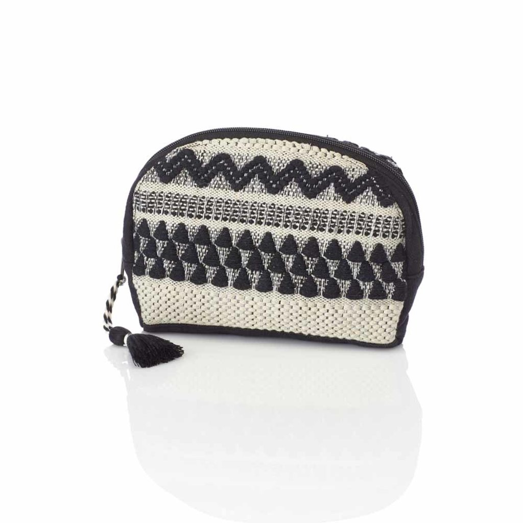 Serrv Jacquard Black and White Zip Pouch