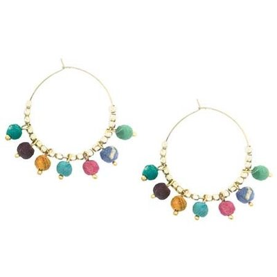 World Finds Kantha Bauble Hoop Earrings