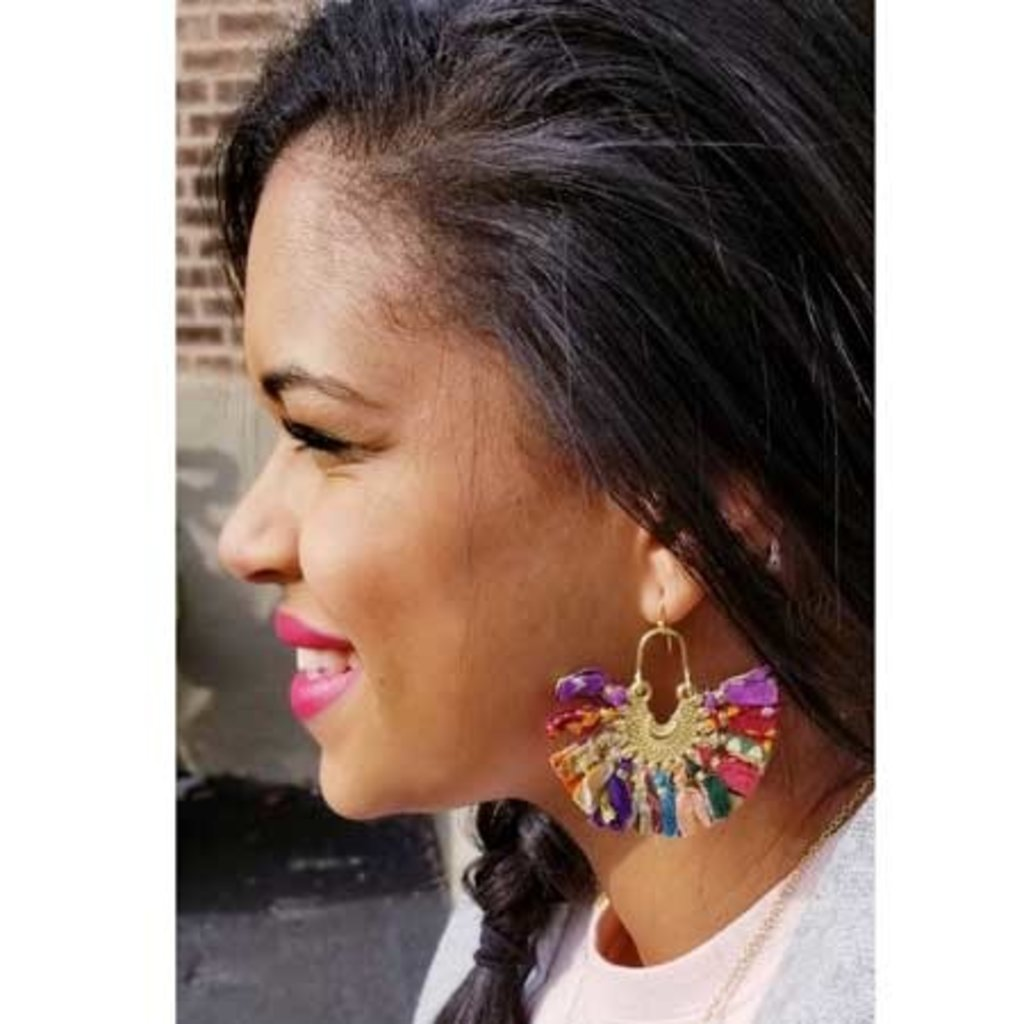 World Finds Kantha Chandelier Earrings