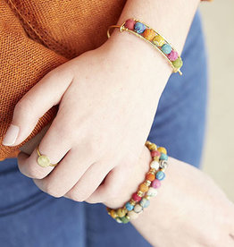 World Finds Kantha Gold Bangle Bracelet