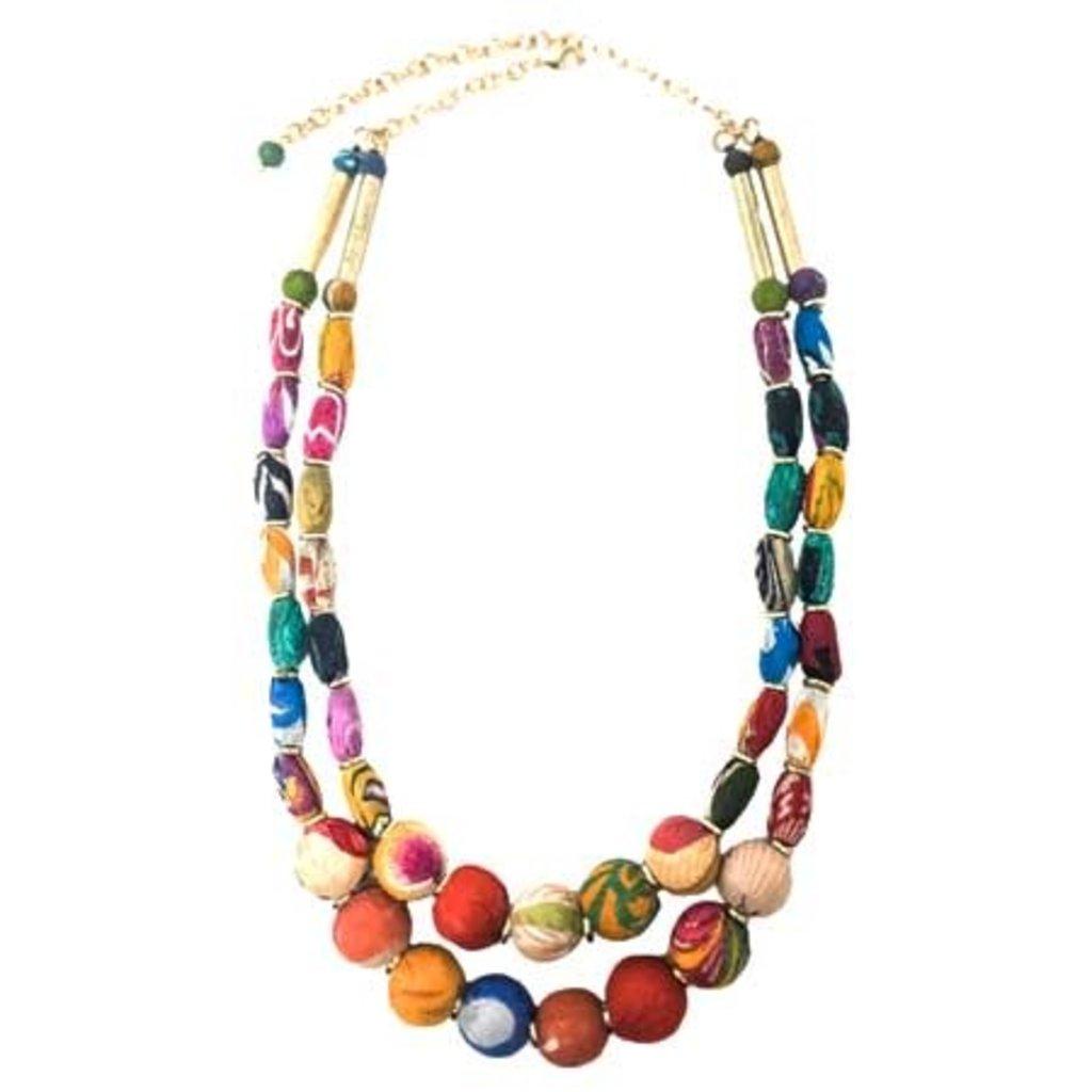 World Finds Kantha Two Strand Cylinder Necklace