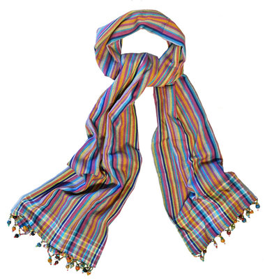 Imani Workshops Kikoy Scarf with Beaded Fringe