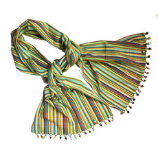 Creation Hive Kikoy Scarf with Beaded Fringe