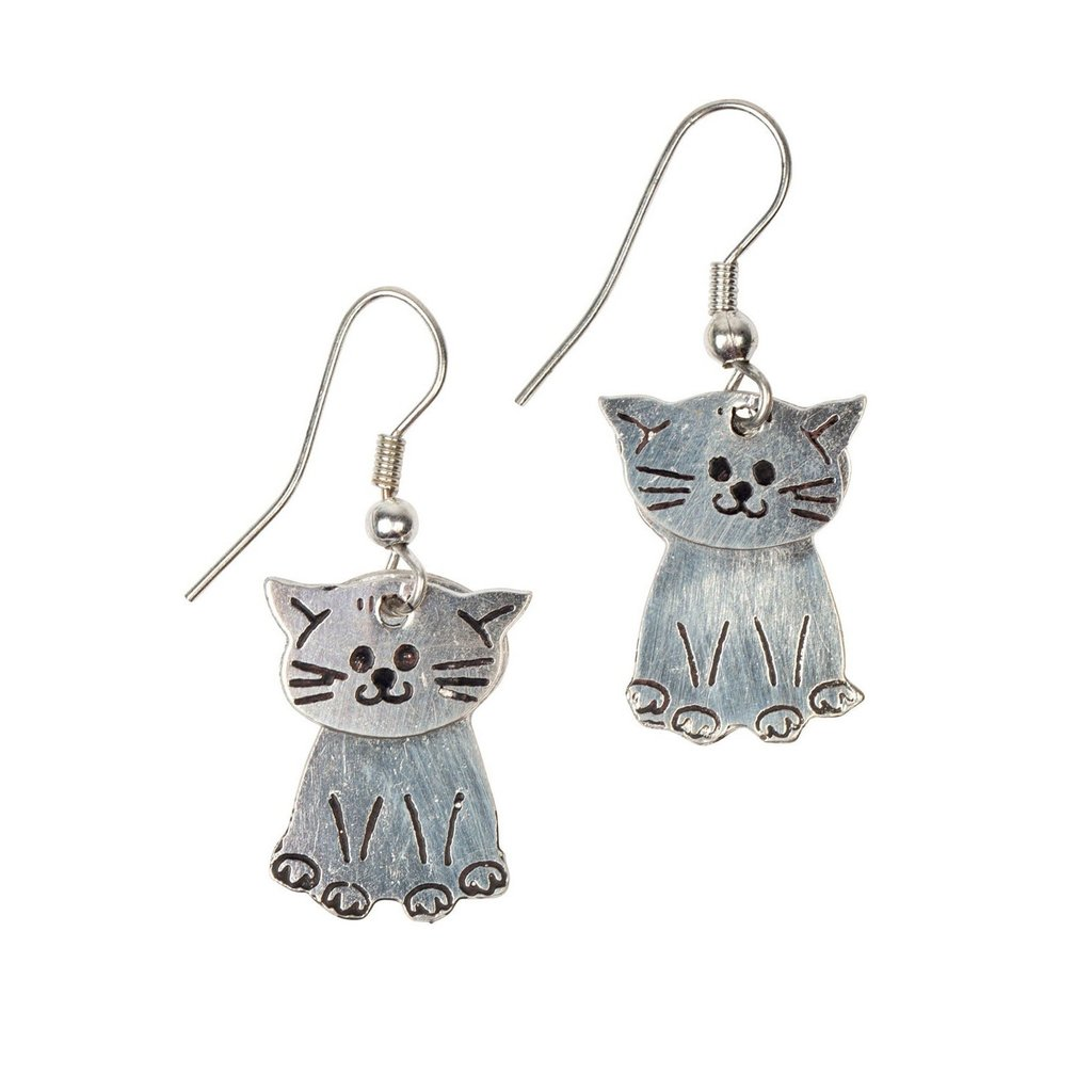 Ten Thousand Villages Kitty Silver Colored Brass Earrings