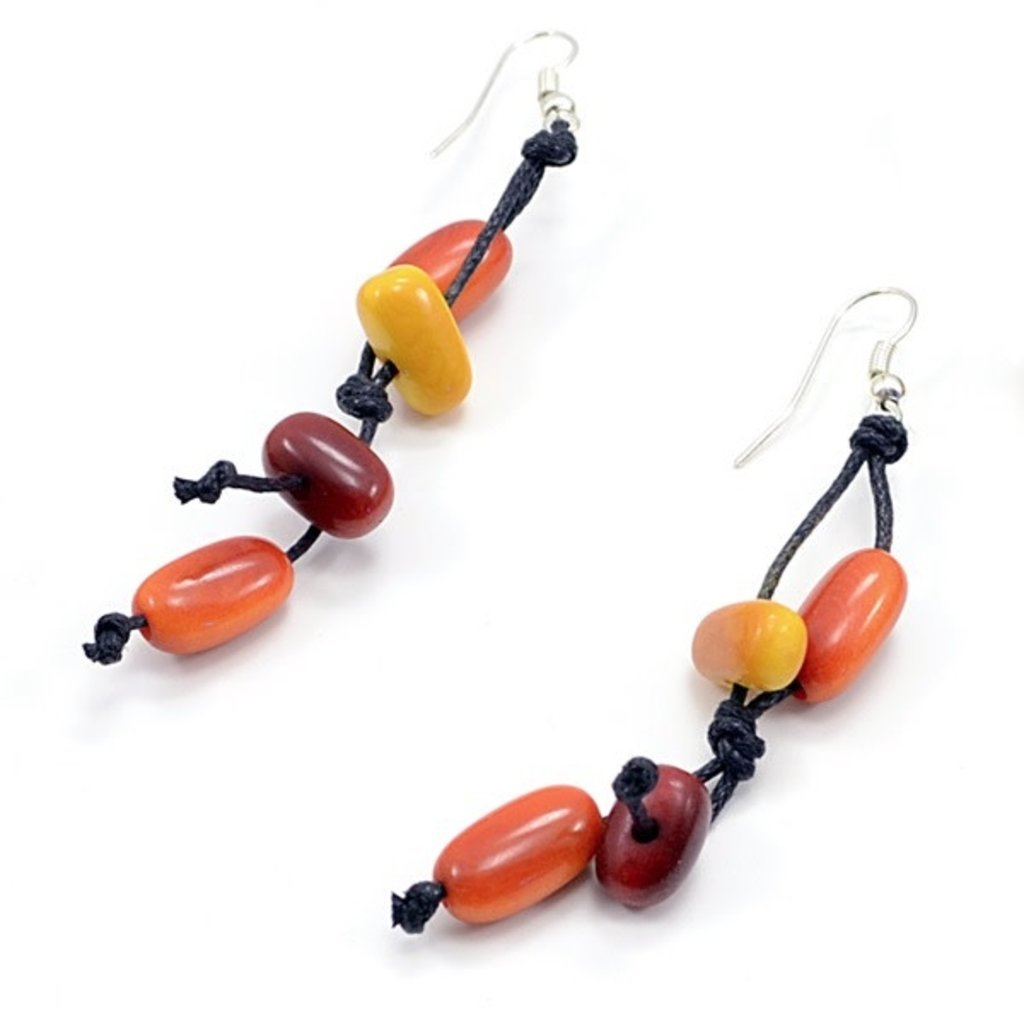 Minga Imports Knotted Cylinder Tagua Earrings