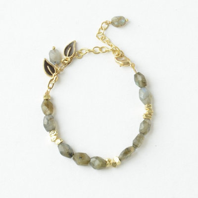 Fair Anita Labradorite and Brass Leaves