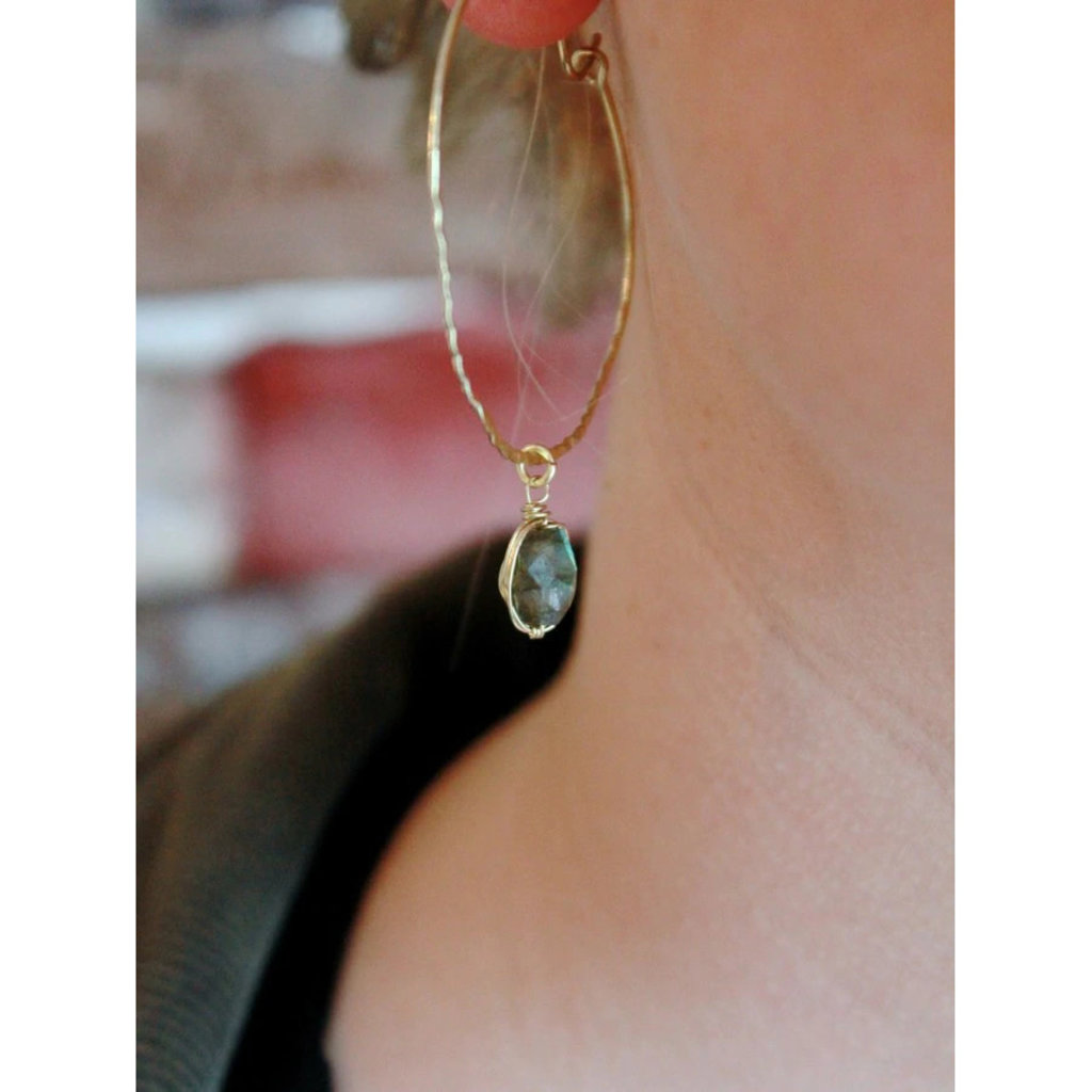 Fair Anita Labradorite Hoop Earrings