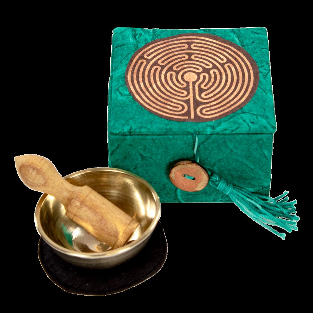 DZI Handmade Labyrinth Mini Meditation Bowl With Box