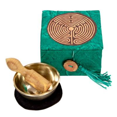 DZI Handmade Labyrinth Mini Meditation Singing Bowl