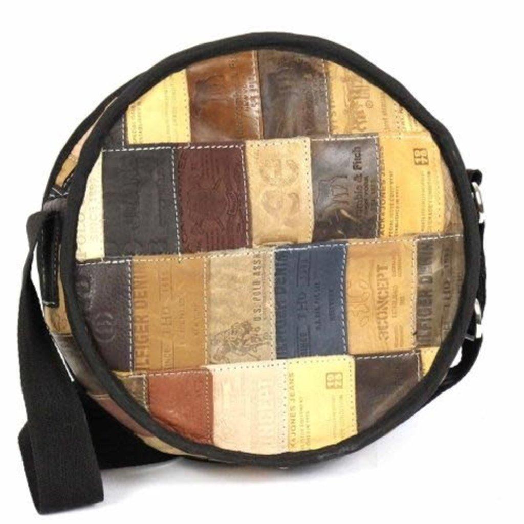 Global Crafts Leather Jean Label Round Shoulder Bag