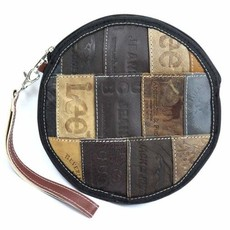 Global Crafts Leather Jean Label Round Wristlet