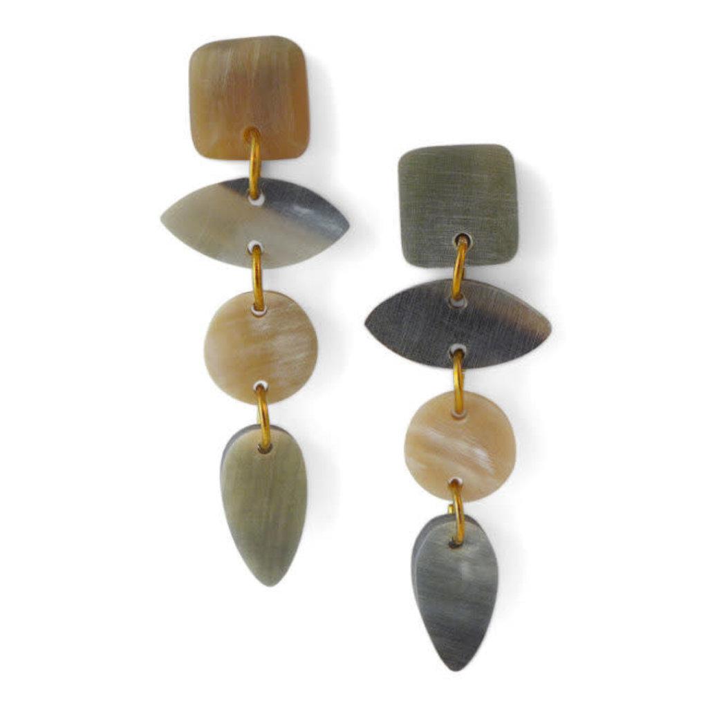 Fair Trade Winds Leo Dark Horn Dangle Earrings