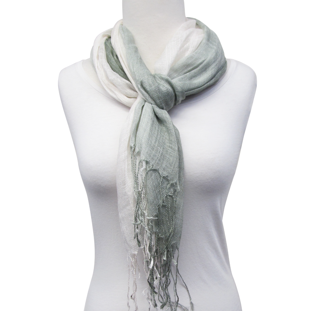 Unique Batik Lightweight Ombre Scarf with Fringe