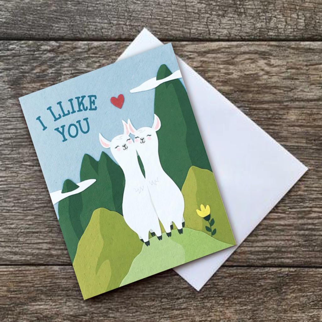 Good Paper Llike You Llamas Love Card