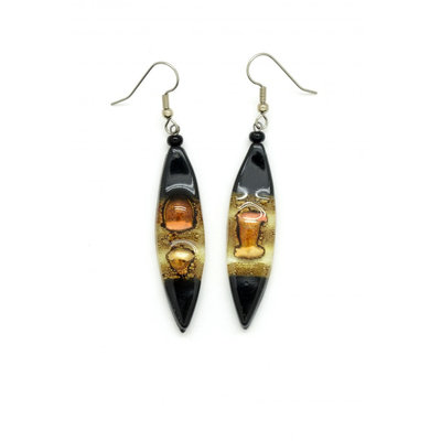 Dunitz & Co Long Almond Glass Earrings
