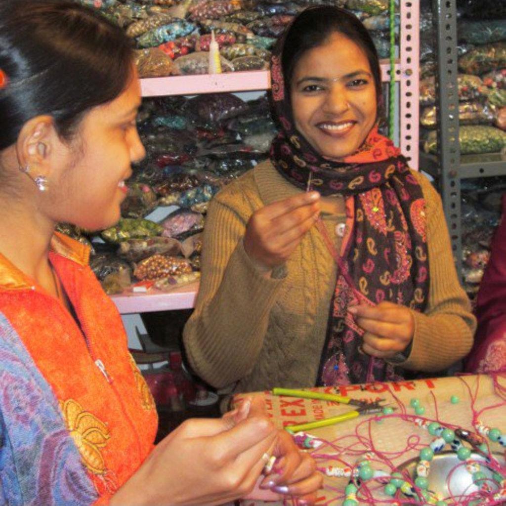 Serrv Long Cool Tones Sari Bead Necklace