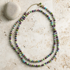 Serrv Long Cool Tones Sari Bead Necklace