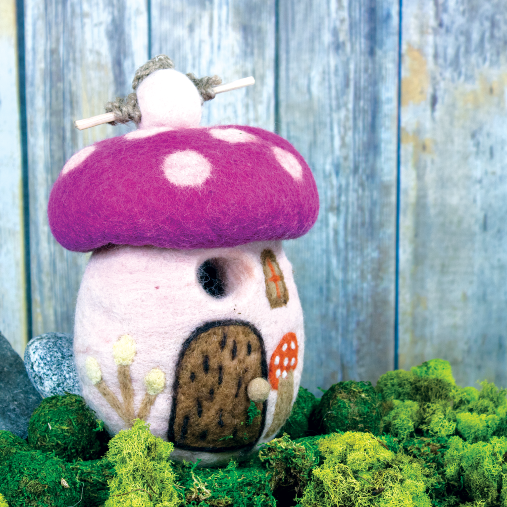 DZI Handmade Magic Mushroom Wool Felt Birdhouse
