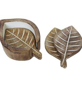 Mira Fair Trade Mango Wood Leaf Coasters