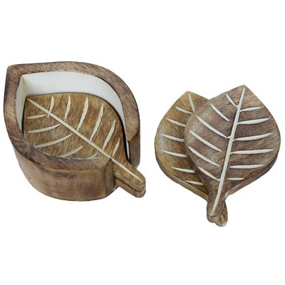 Mira Fair Trade Mango Wood Leaf Coasters