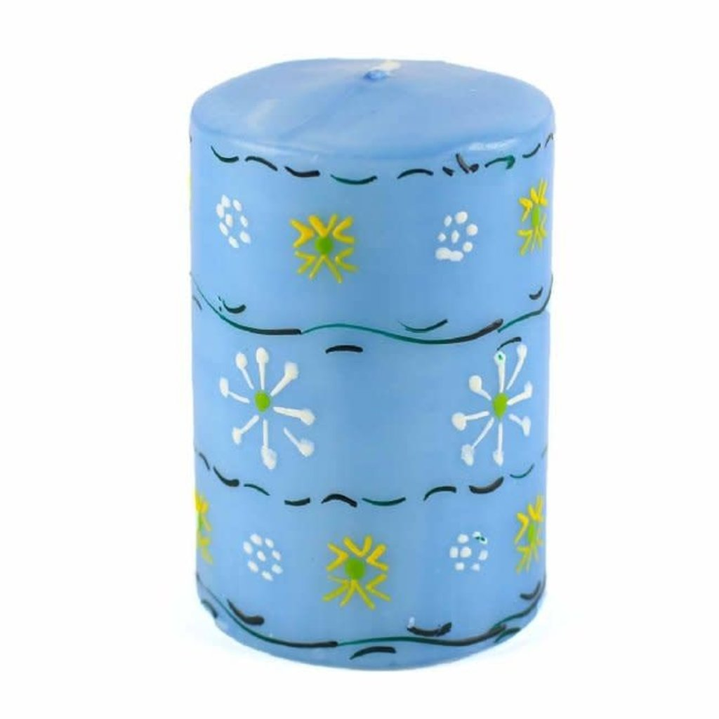 Global Crafts Masika Blue Pillar Candle