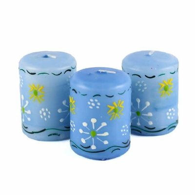 Global Crafts Masika Blue Votive Candles 3 Pack