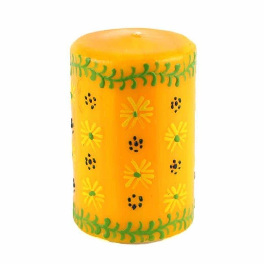 Global Crafts Masika Yellow Pillar Candle