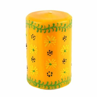 Global Crafts Masika Yellow Pillar Candle