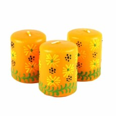 Global Crafts Masika Yellow Votive Candles 3 Pack