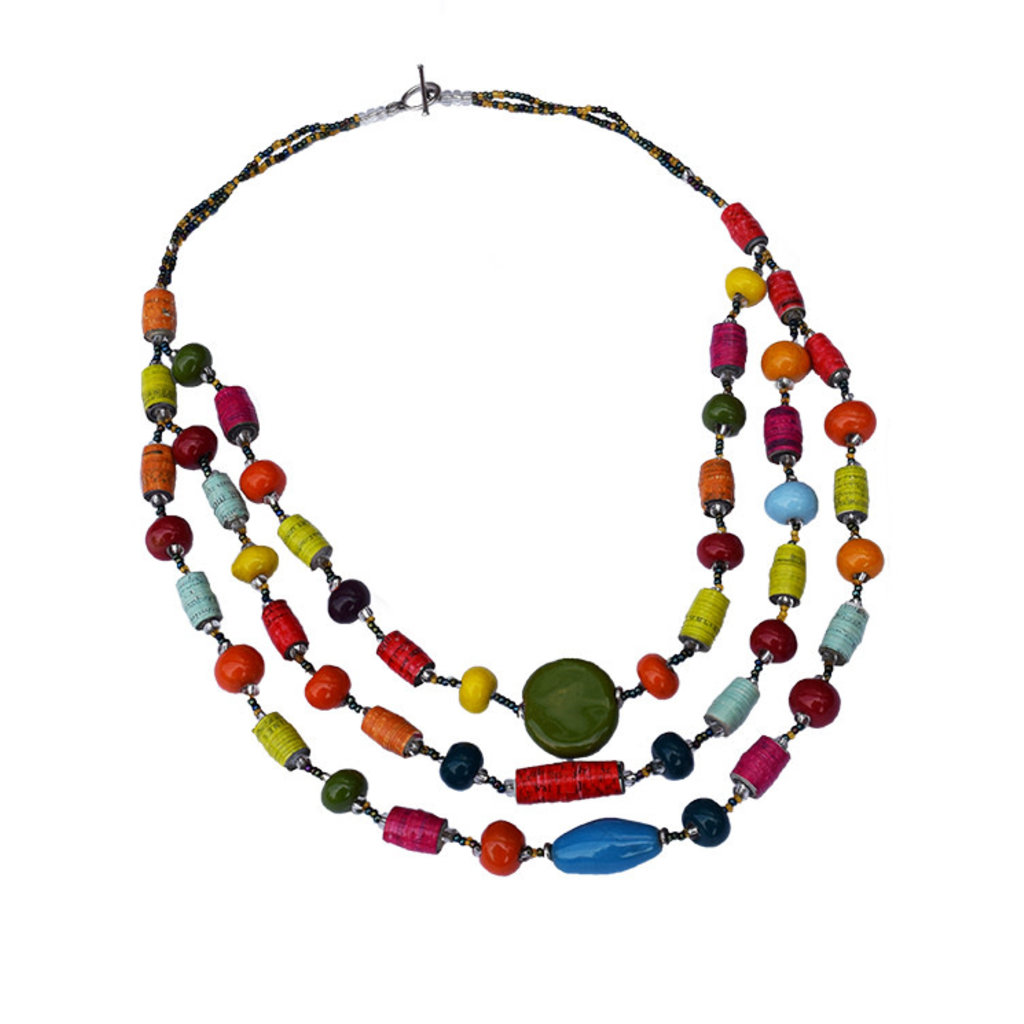 Creation Hive Mixed Bead 3-Strand Necklace
