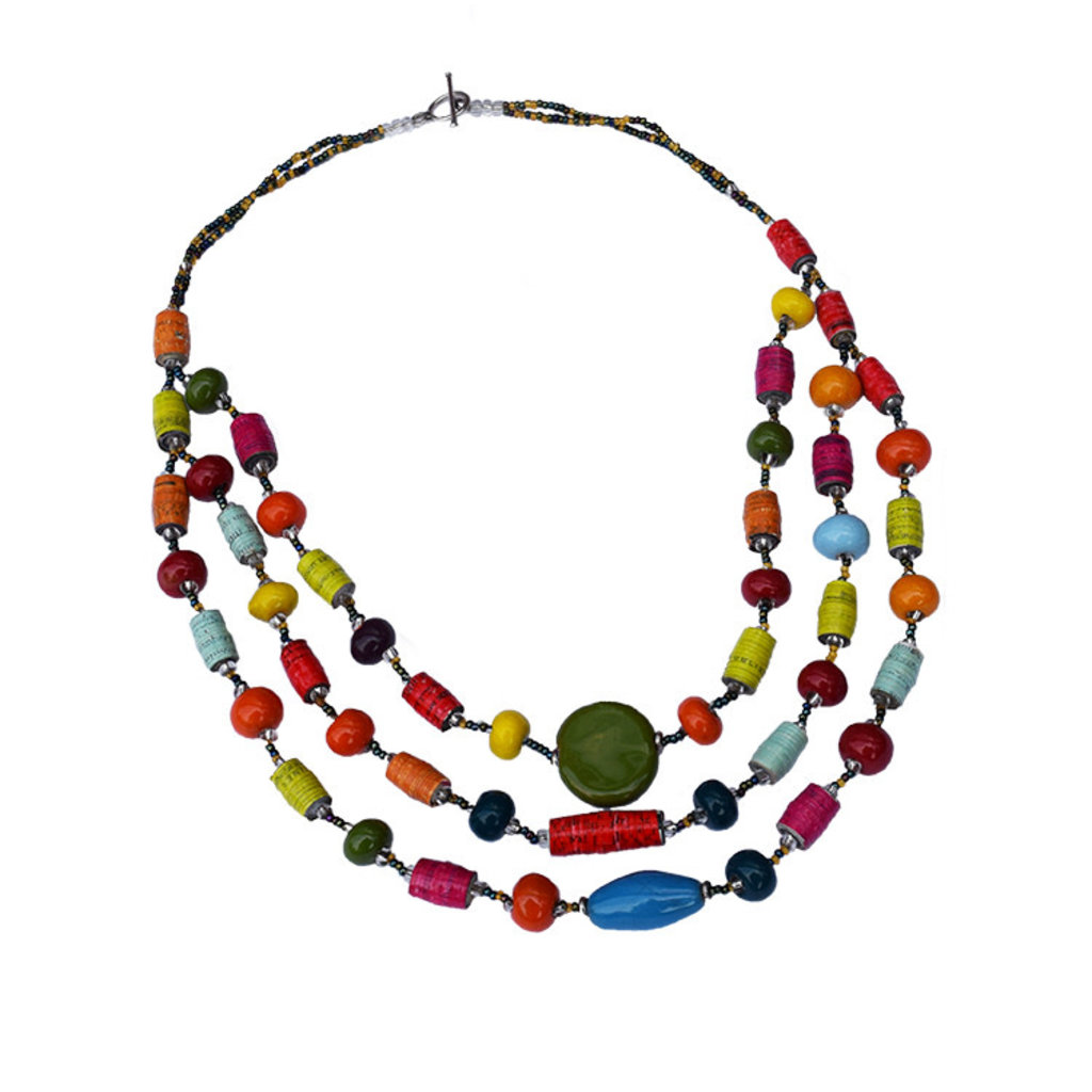 Imani Workshops Mixed Bead 3-Strand Necklace