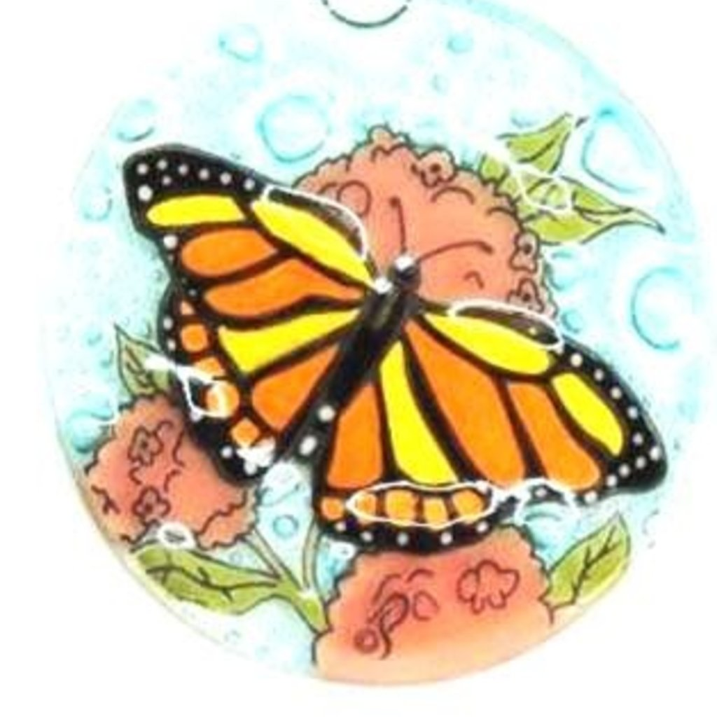 PamPeana Monarch Butterfly Fused Glass Ornament