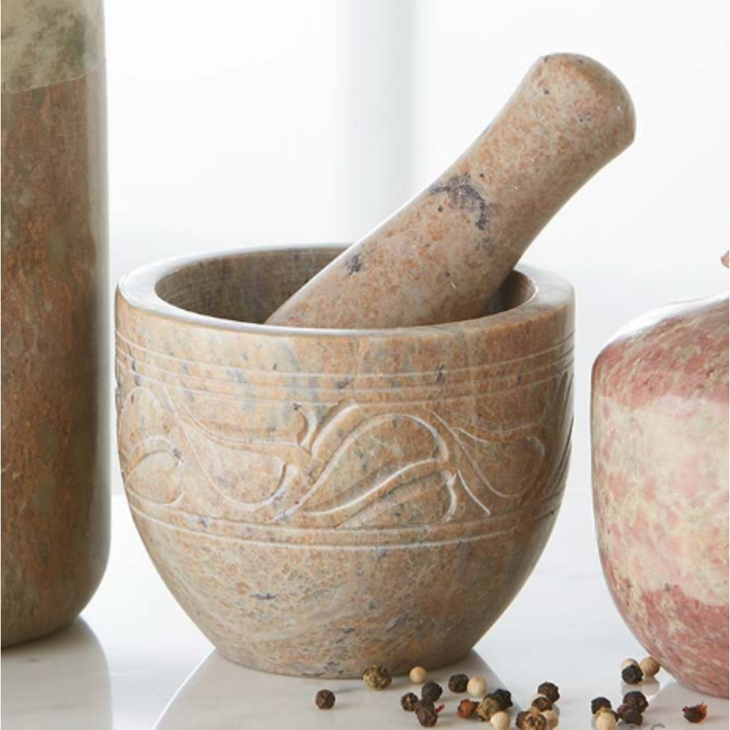 Serrv Mortar and Pestle Carved Stone