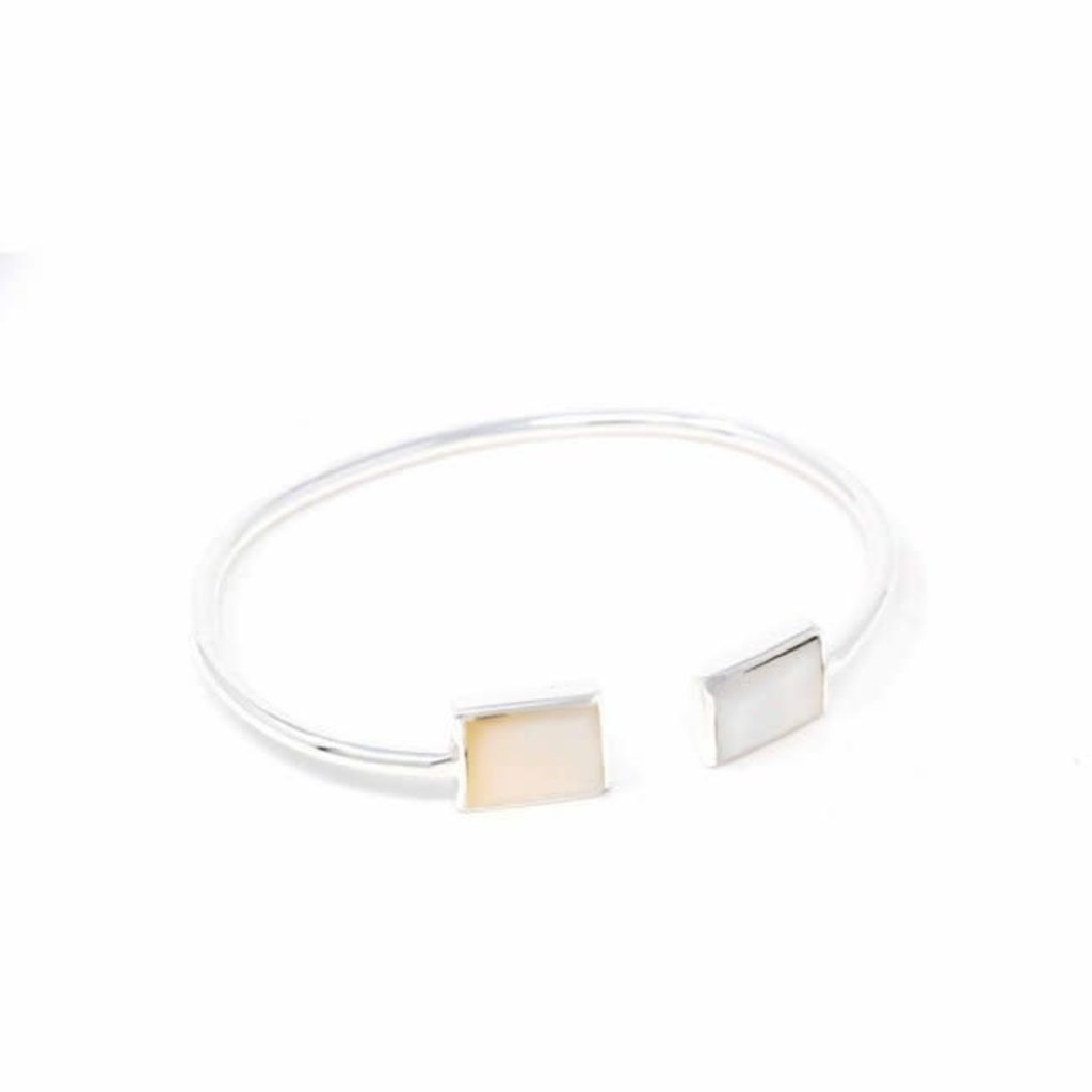 Global Crafts Mother of Pearl Squares on Silver Bracelet