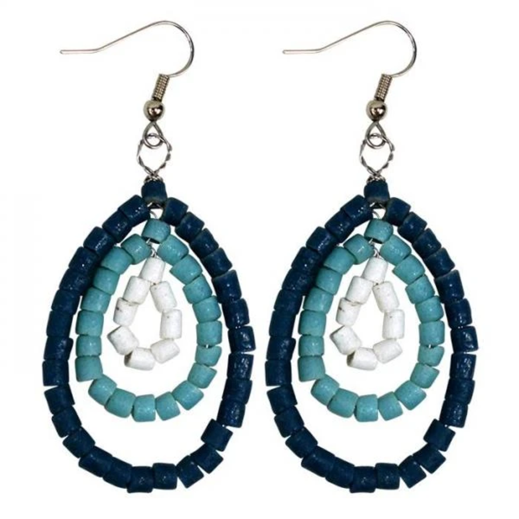 Global Mamas Namib Recycled Glass Earrings - Aqua