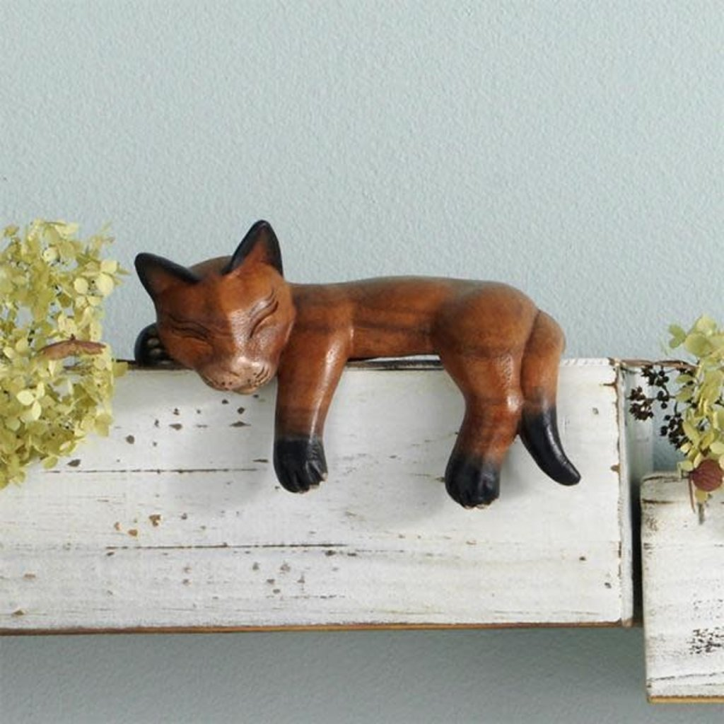 Serrv Napping Wooden Shelf Cat in Suar Wood