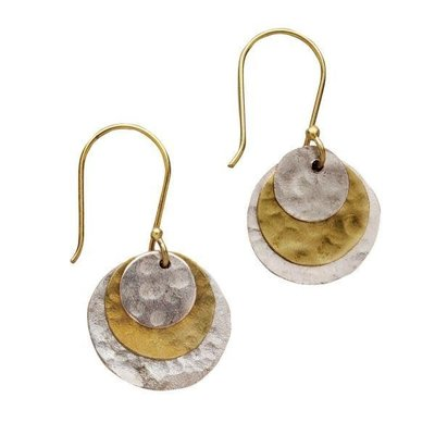Ten Thousand Villages Hammered Silver & Gold Earrings