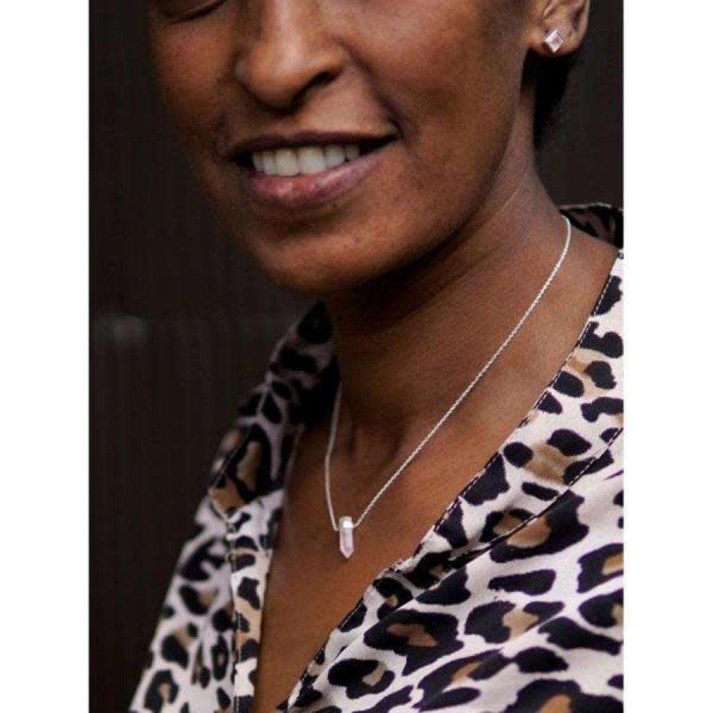 Fair Anita Natural Beauty Rose Quartz Sterling Silver Necklace