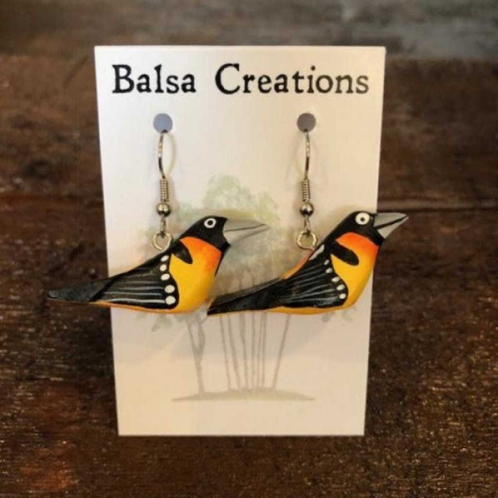 Women of the Cloud Forest Northern Oriole Balsa Earrings