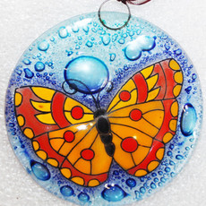 PamPeana Orange Butterfly Fused Glass Ornament