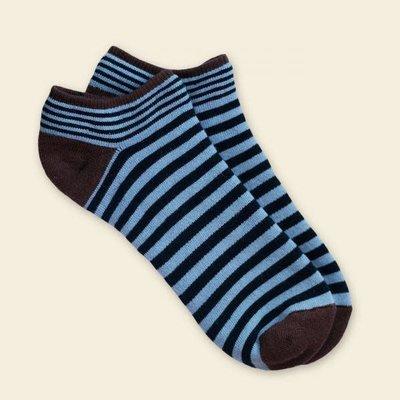 Maggie's Organics Organic Cotton Navy/Blue Pinstripe Footies Size 9-11
