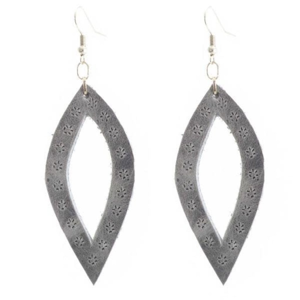 Lucia's Imports Oval Leather Earrings
