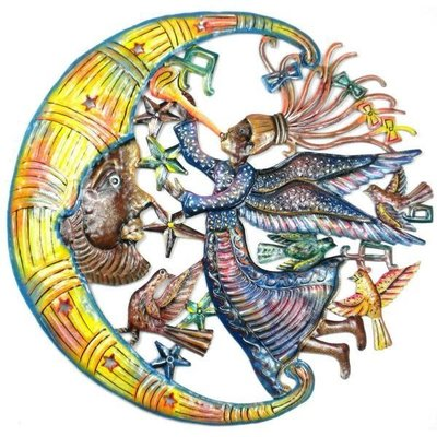 Global Crafts Painted Angel and Moon Drum Art